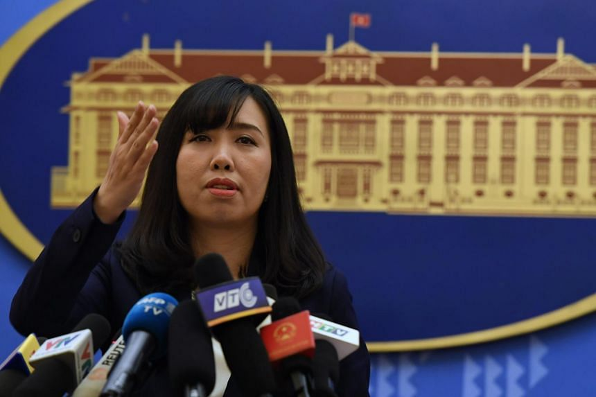 Vietnam's Foreign Ministry spokeswoman Le Thi Thu Hang at a press conference in Hanoi on Aug 3, 2017.