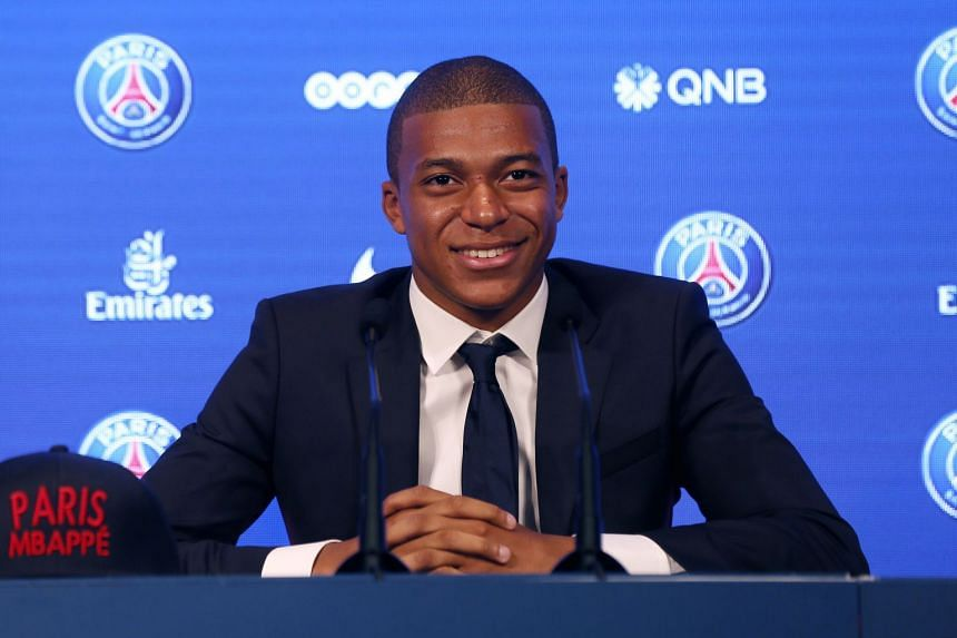 PSG's Kylian Mbappe attends a press conference during his presentation in Paris, Sept 6, 2017.