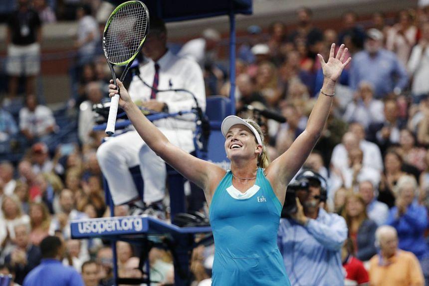 CoCo Vandeweghe of the US reacts after defeating Karolina Pliskova.