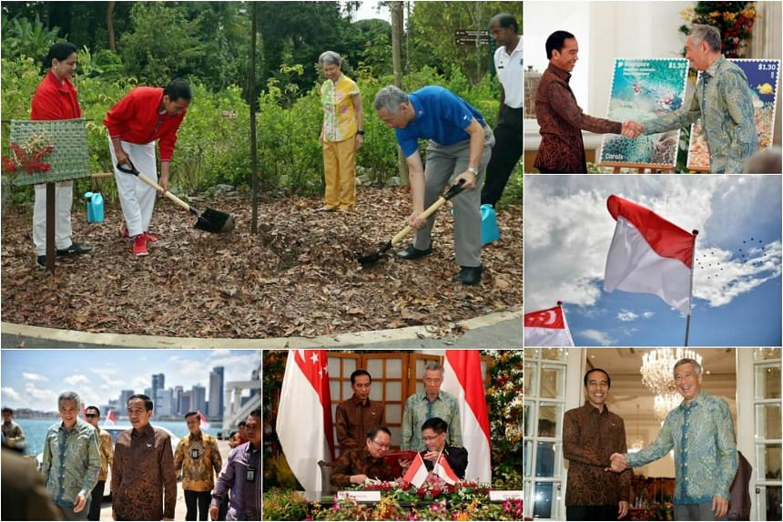(Clockwise from top left) Indonesian President Joko Widodo, First Lady Iriana, PM Lee Hsien Loong and Ho Ching plant a Sunda Oak, the duo unveil a joint stamp, a joint flypast by RSAF and TNI-AU, Indonesian President Joko Widodo shakes hands with PM