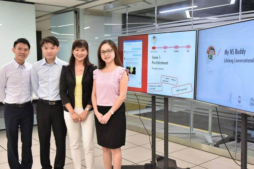 "Defence engineers (from left) Tan Teck Guan, Robin Ang, Evon Lim, and Wendy Chan are currently working on ""My NS Buddy"". Mr Ang was inspired when he was checking for available Individual Physical Proficiency Test (IPPT) time slots."
