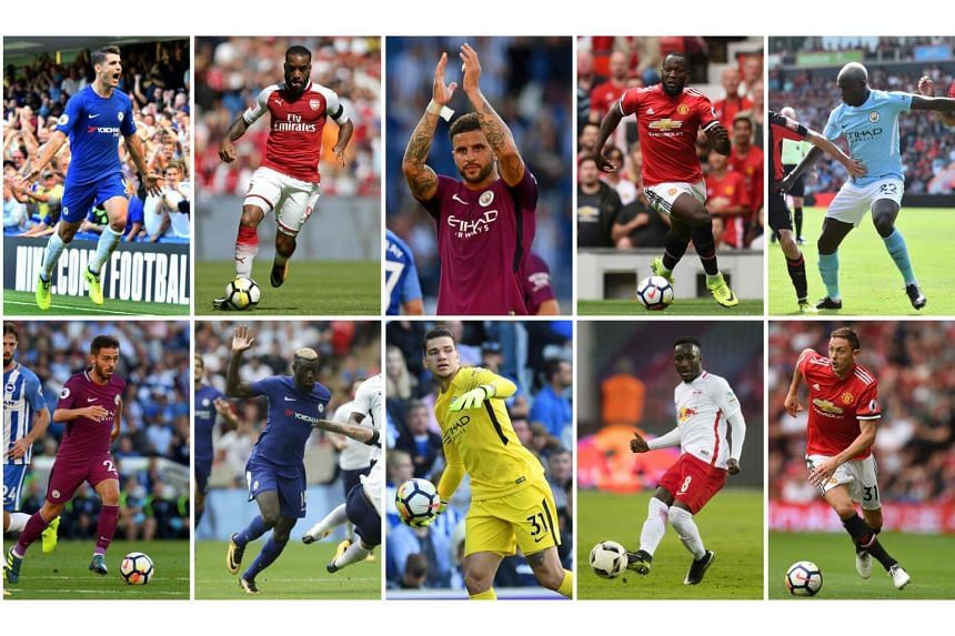 (Top from left to right) Alvaro Morata joined Chelsea, Alexandre Lacazette joined Arsenal, Kyle Walker joined Manchester City, Romelu Lukaku joined Manchester United, Benjamin Mendy joined Manchester City. (Bottom from left to right) Bernardo Silva j