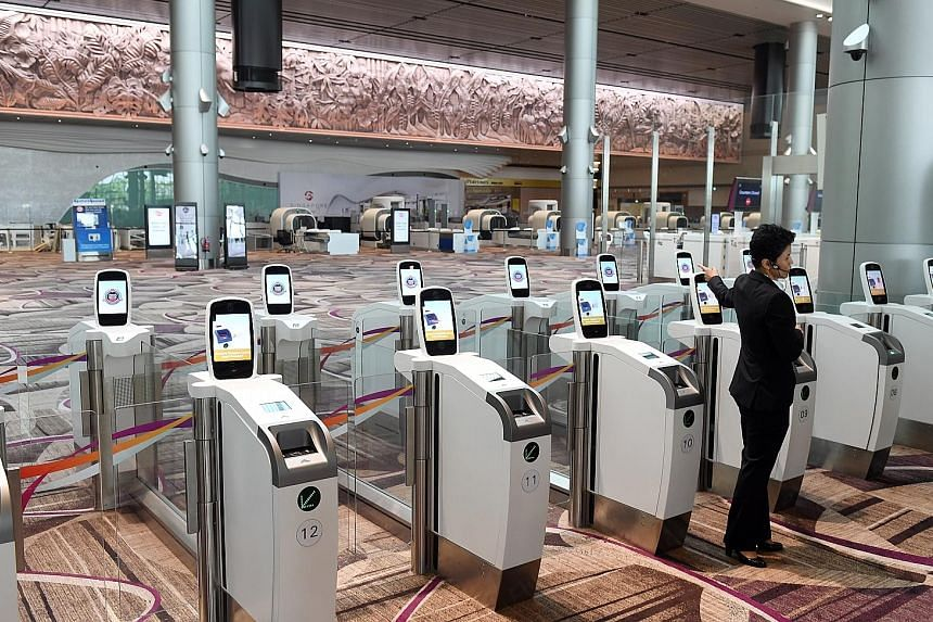 Self-service check-in kiosks at the new T4. For the first time here, there will be a facial recognition system to capture a passenger's photo at various stations, centralised security screening and start-to-end self-service options.