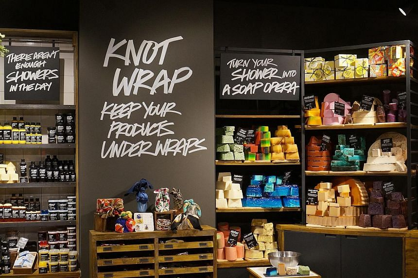 Lush, co-founded by Ms Rowena Bird (above), has opened its fifth store in Singapore (left), which sells exclusive products like the brand's Knot Wraps, wrapping fabric made from organic cotton or recycled plastic bottles.