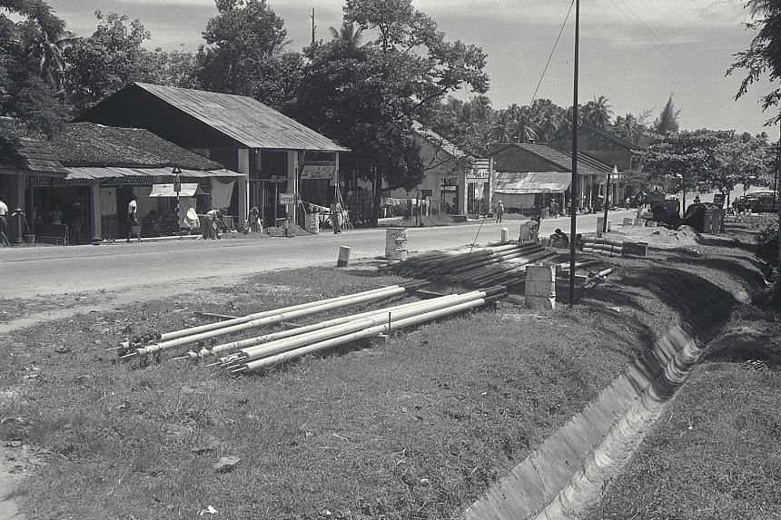 "The old Tampines Road in 1950. It was built in 1847, and was ""a winding, two-lane road lined with coconut trees and villages""."