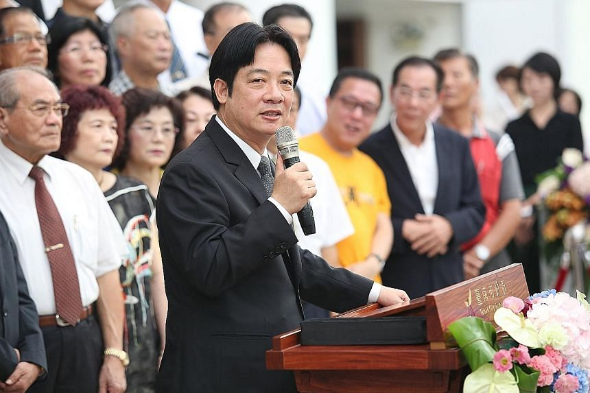Mr William Lai bidding farewell to his Tainan City Council yesterday, ahead of taking office as the island's Premier tomorrow.