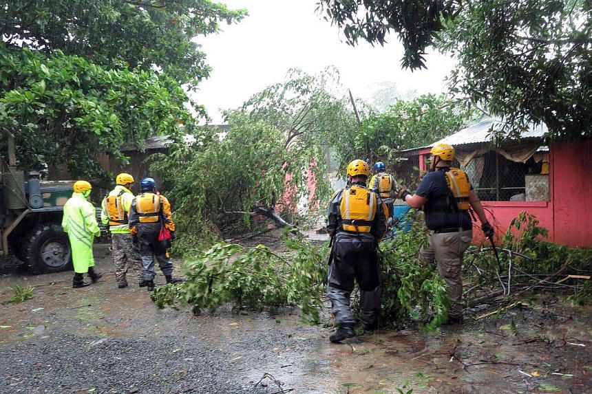 Search and rescue crew members clears a fallen tree during a search mission on Sept 6, 2017.