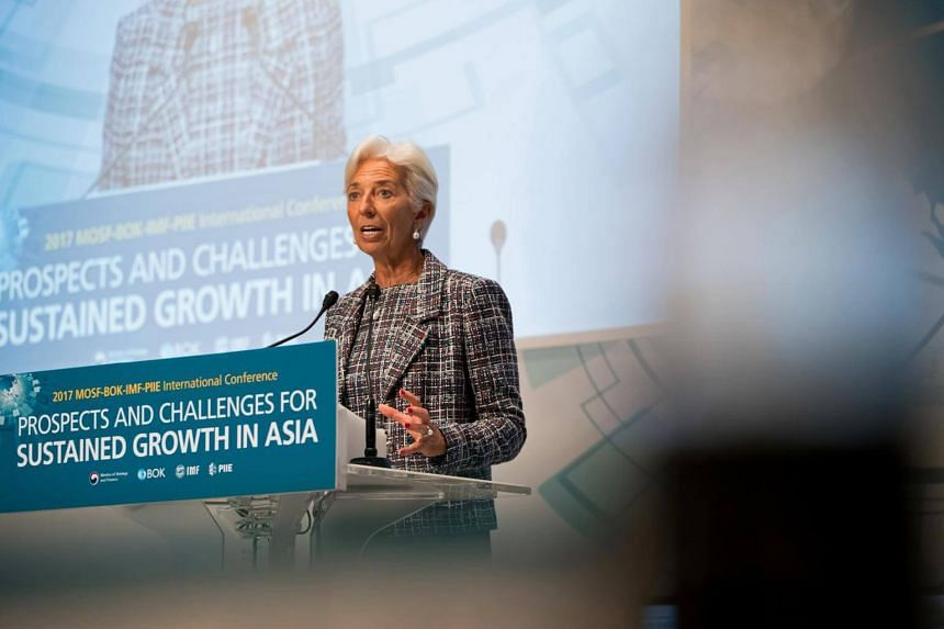 Ms Christine Lagarde, managing director of the International Monetary Fund, speaking during the MOSF-BOK-IMF-PIIE International Conference in Seoul on Sept 7, 2017.