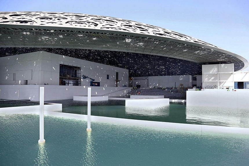 Abu Dhabi's Louvre museum, designed by French architect Jean Nouvel, surrounded by sea water.