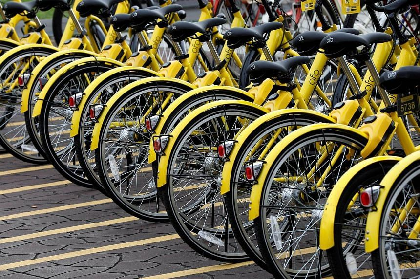 Ofo's bicycles seen in Singapore on Aug 29, 2017. The company is setting up 25 new parking zones in the city centre and west areas.
