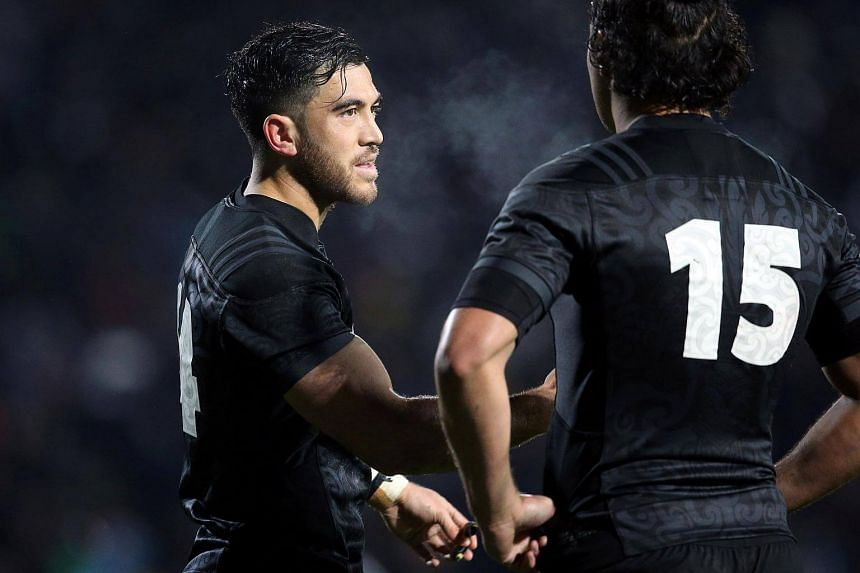 Nehe Milner-Skudder (left) looks on during the match between New Zealand's Maori All Blacks and the British and Irish Lions on June 17, 2017.