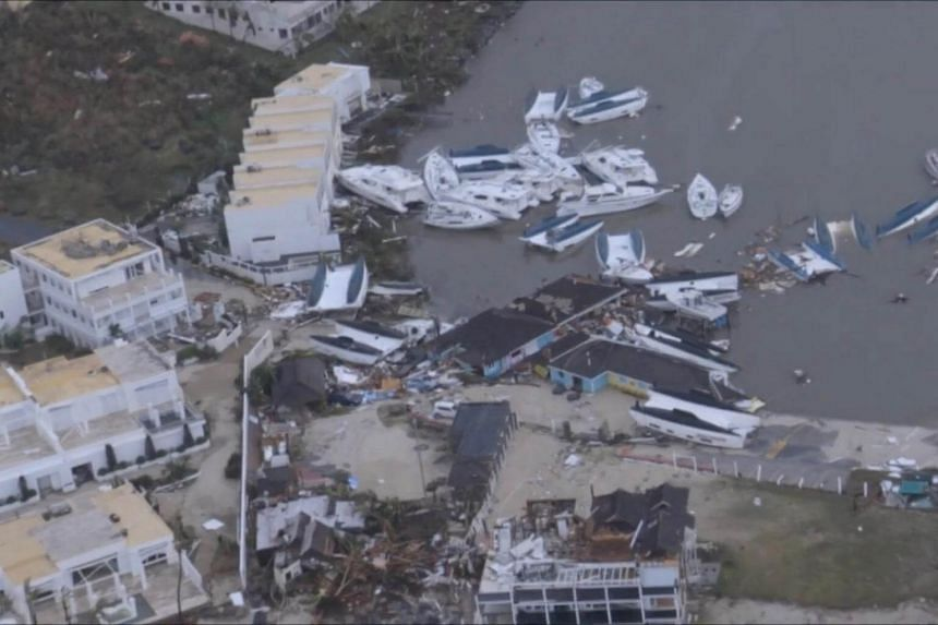 The aftermath of Hurricane Irma on Sint Maarten Dutch part of Saint Martin island in the Carribean is seen in the still grab taken from a video footage made on Sept 6, 2017.