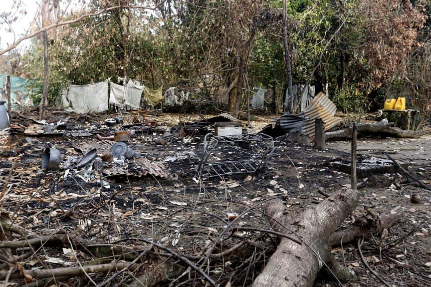 A view of burned down houses at the Myoma KaNyinTan muslim quarter in Maungdaw township, Rakhine State, western Myanmar on Sept 6, 2017.