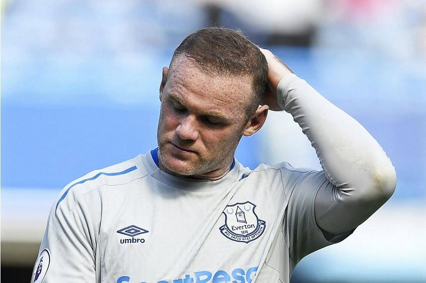 Everton's Wayne Rooney reacts after the English Premier League soccer match between Chelsea FC and Everton FC at Stamford Bridge in London, Britain, on Aug 27, 2017.