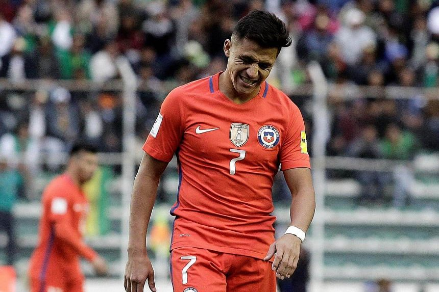 Chile's Alexis Sanchez reacts during the 2018 World Cup Qualifying match on Sept 5, 2017.