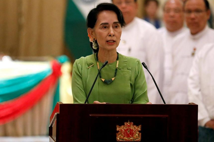 Myanmar State Counsellor Aung San Suu Kyi talks during a news conference with India's Prime Minister Narendra Modi in Naypyitaw, Myanmar on Sept 6, 2017.