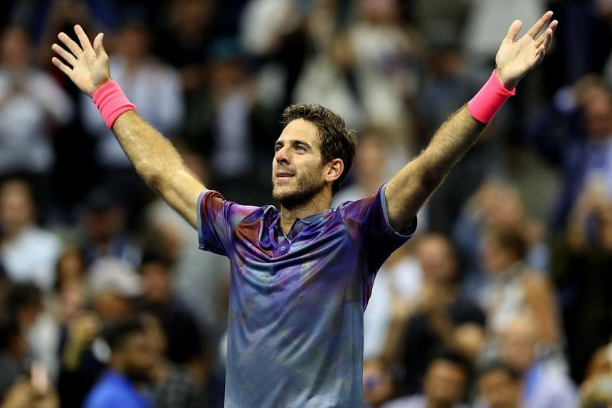 Juan Martin del Potro of Argentina celebrates after defeating Roger Federer of Switzerland during their US Open Tennis Championships quarterfinals round match at the USTA National Tennis Center in Flushing Meadows, New York, USA on Sept 6, 2017.