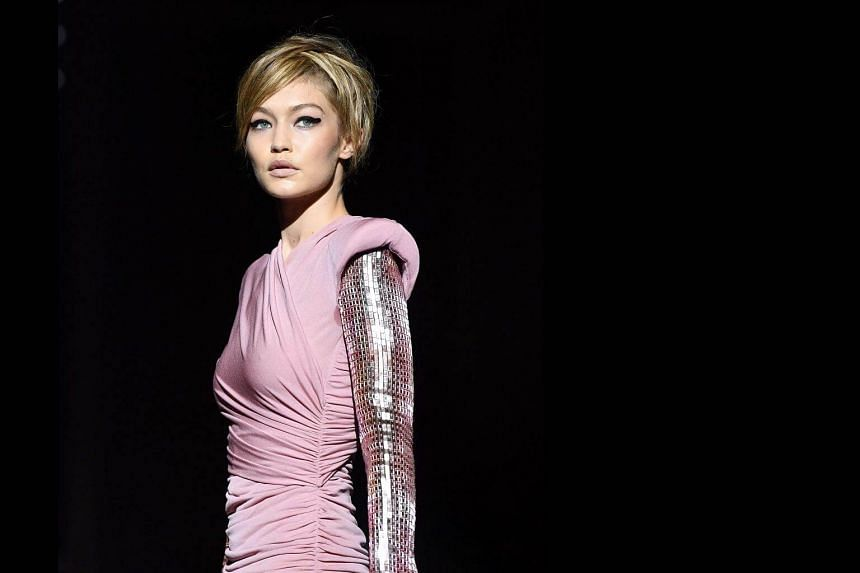 Model Gigi Hadid walks the runway for the Tom Ford SS18 show in New York City on Sept 6, 2017.