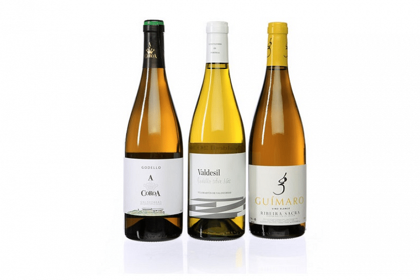 From left: The 2015 Valdeorras Godello from A. Coroa, 2014 Valdeorras Godello Sobre Lías from Valdesil and 2014 Ribeira Sacra Vino Blanco from Guimaro.