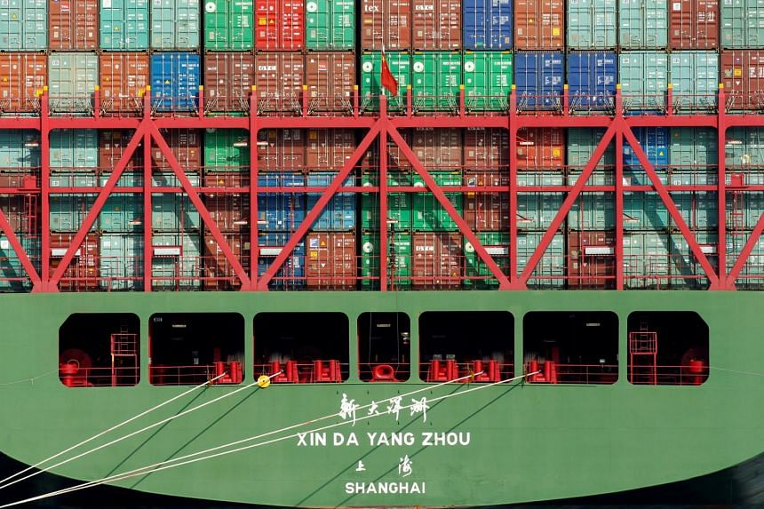 China Shipping containers sit on a ship in the Port of Los Angeles.