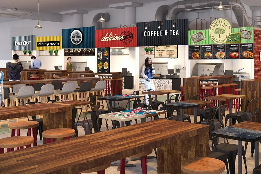 An artist's impression of the second floor of the new Pasir Ris Central Hawker Centre, which will open in November.