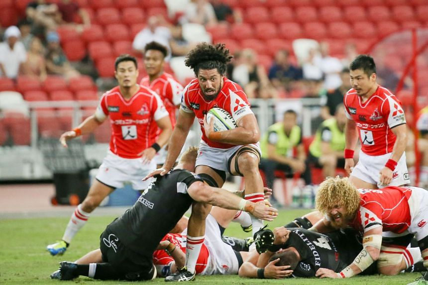 Sunwolves' Sam Wykes attempting to wriggle free from a Sharks defender during a Super Rugby game at the National Stadium in May. The physicality of teams in the South African Group last season was something the Asian side - co-based in Tokyo and Sing