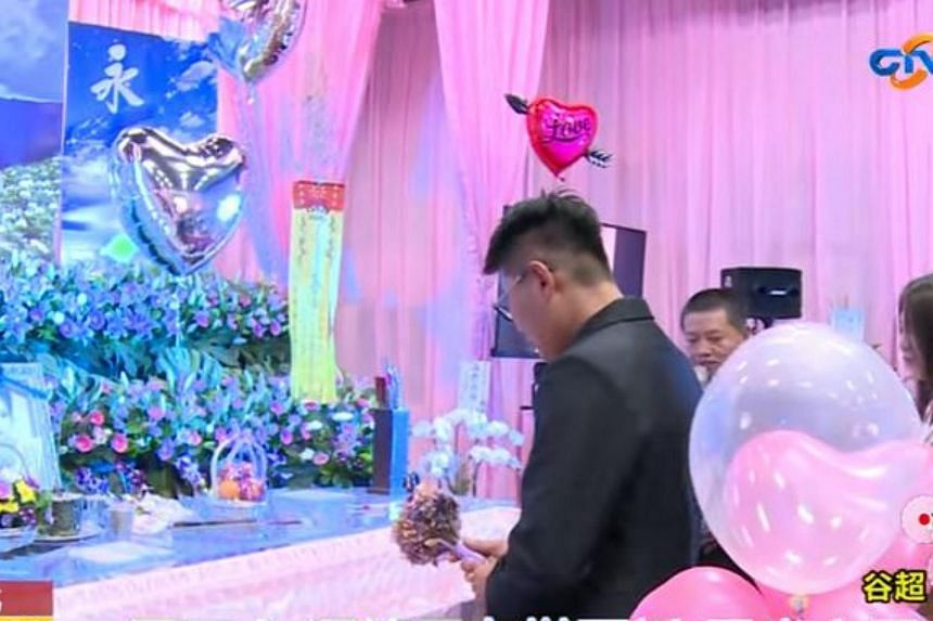 Truck driver Mr Tsai got engaged to his girlfriend - who died in a traffic accident last month - at her funeral on Wednesday (Sept 6).