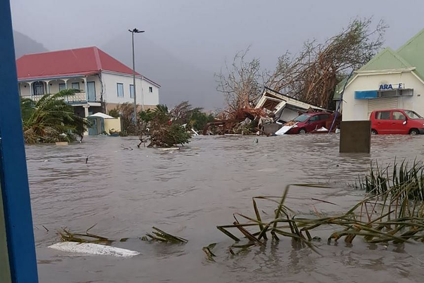 A flooded street on the French overseas island of Saint-Martin after it was hit by Hurrican Irma.