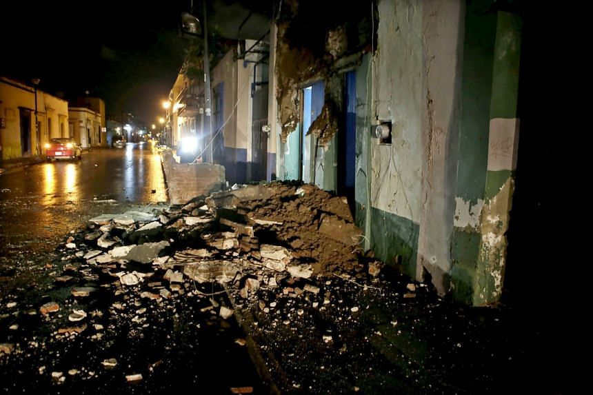 Debris from a damaged building in Oaxaca, Mexico are seen after the earthquake.