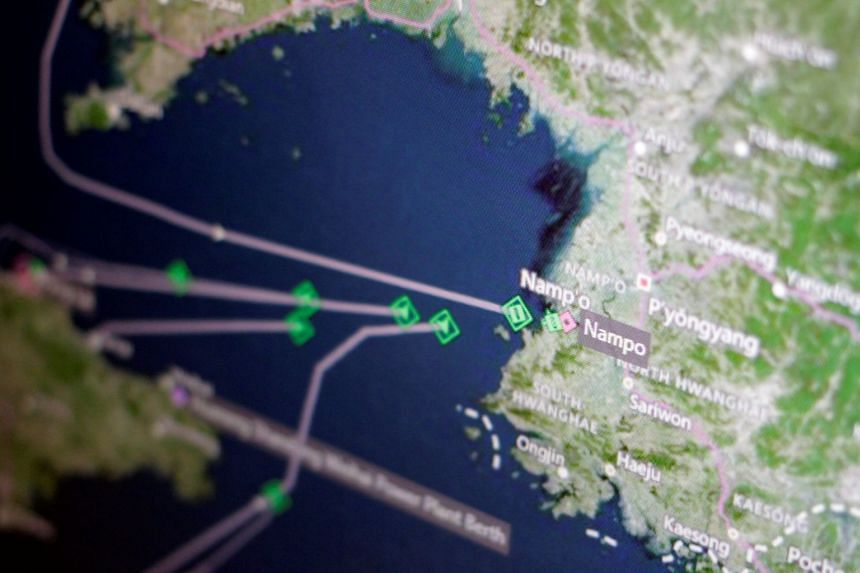 A Thomson Reuters Eikon ship-tracking screen shows cargo ships returning to Nampo port in North Korea, on April 11, 2017.