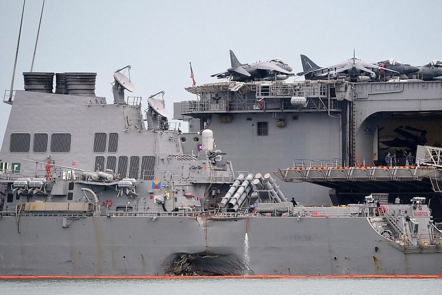 The USS John S. McCain suffered damage to its hull after a collision with a tanker off Singapore on Aug 22.