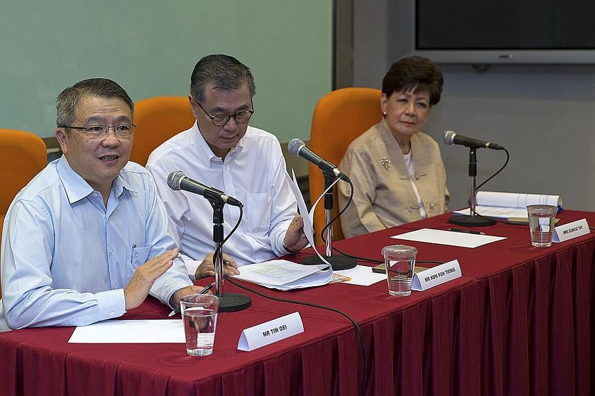 (From left) NKF's new chief executive officer Tim Oei, chairman Koh Poh Tiong and interim CEO Eunice Tay at a press conference yesterday. Mr Oei took the helm last month.