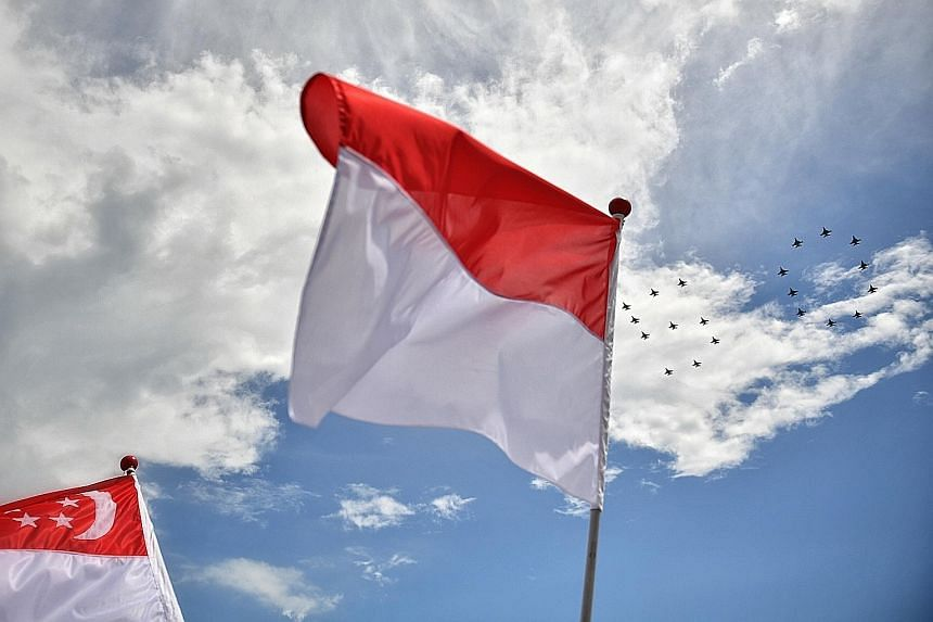 Fighter jets from the Singapore and Indonesia air forces in a joint fly-past yesterday to commemorate 50 years of diplomatic ties between the two nations. The combined fly-past was the largest and most complex one that the Republic of Singapore Air F