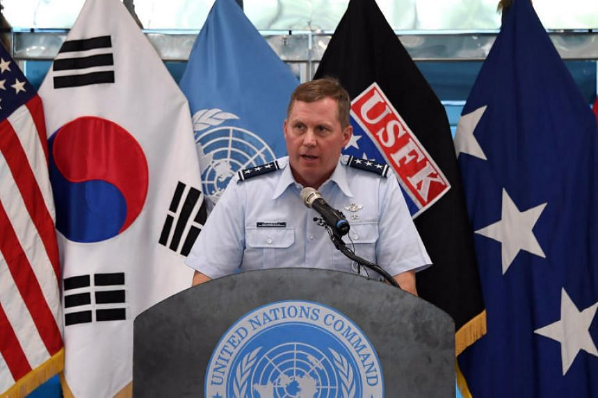 US Lieutenant General Thomas Bergeson, deputy commander of the United Nations Command Korea, speaks during a commemorative ceremony for the 64th anniversary of the Korean armistice at the truce village of Panmunjom on July 27, 2017.
