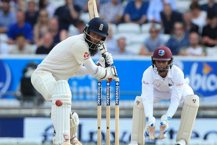 England's Moeen Ali bats on the fourth day of the second international Test match between England and the West Indies at Headingley cricket ground in Leeds, northern England, on Aug 28, 2017.