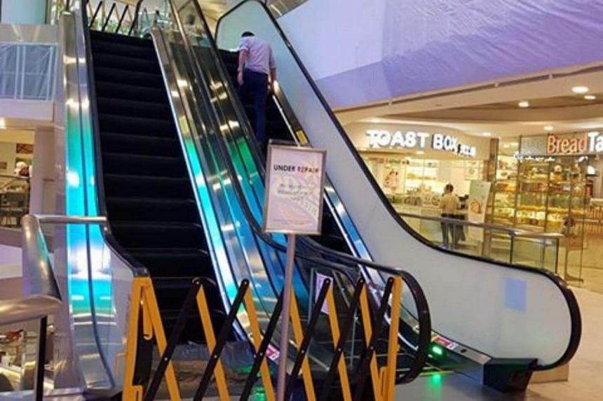 A spokesman for The Centrepoint said that an escalator located at basement one of the shopping mall broke down at 2.10pm on Thursday.