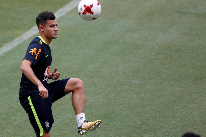 Brazil's Philippe Coutinho controls the ball during a training session ahead of their match against Colombia.