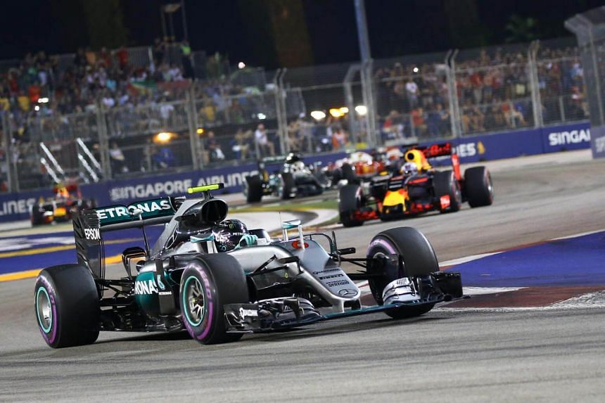 Mercedes AMG Petronas Formula One pilot driver Nico Rosberg of Germany in action at the Formula 1 Singapore Airlines Singapore Grand Prix at the Marina Bay Street Circuit, on Sept 18, 2016.