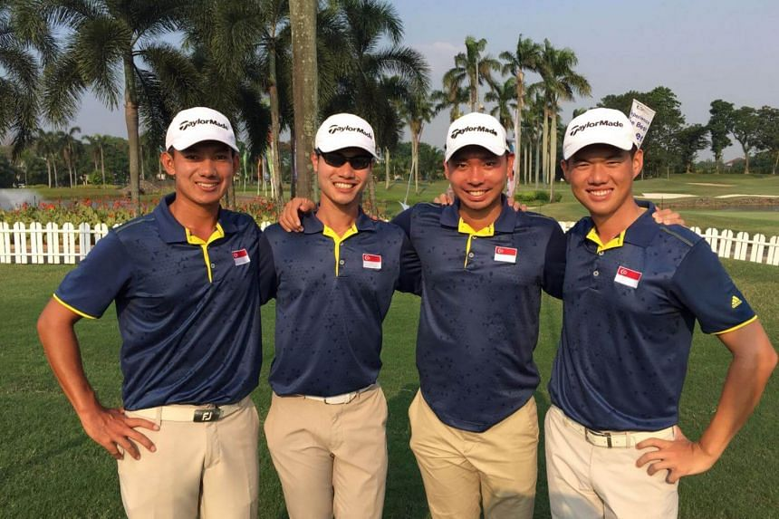 Singapore golfers (from left) Marc Ong, Gregory Foo, Joshua Shou and Joshua Ho during round three of the Putra Cup 2017, on Sept 7, 2017.