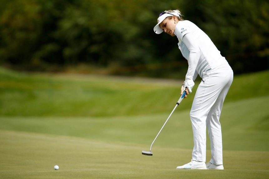 Lexi Thompson putts on the 7th hole during the first round of the Indy Women In Tech Championship.
