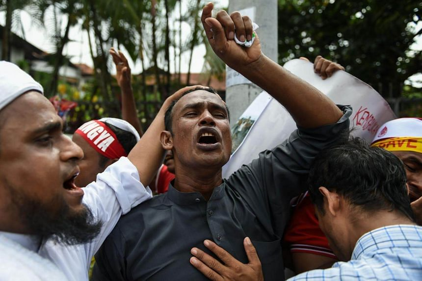 Rohingya refugees living in Malaysia shout slogans during a protest against the treatment of Rohingya Muslims in Myanmar, in Kuala Lumpur on Sept 8, 2017.