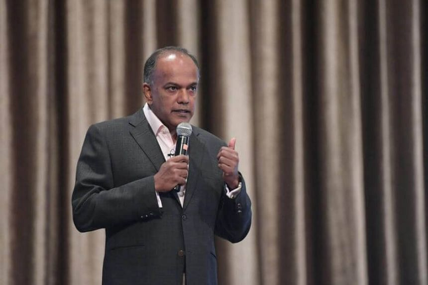 Home Affairs and Law Minister K. Shanmugam speaking at the Institute of Policy Studies forum on Friday (Sept 8). He had cited the case of two foreign Christian preachers who were barred from entering Singapore due to their Islamophobic teachings.