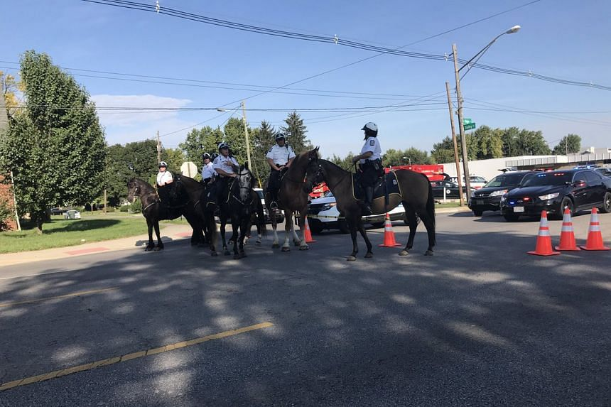 Mounted police on the scene.