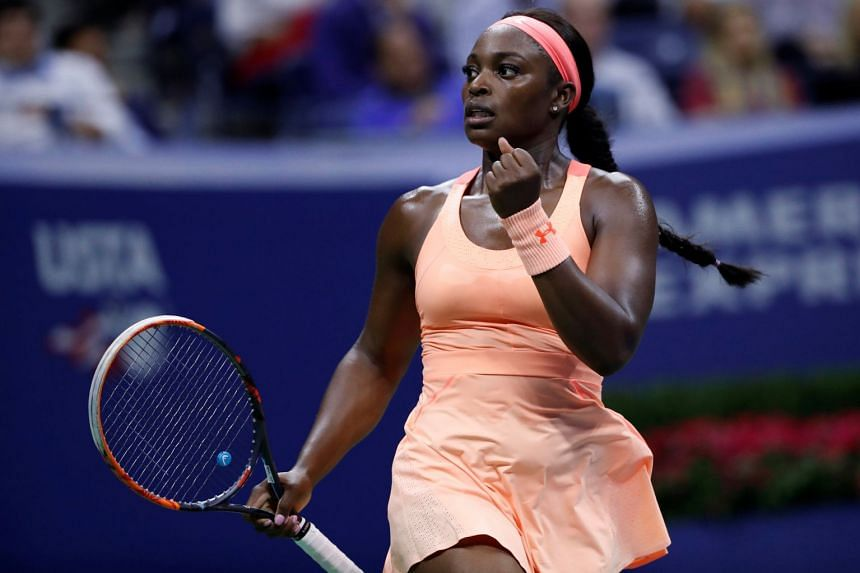 Sloane Stephens reacts to won point against Venus Williams.
