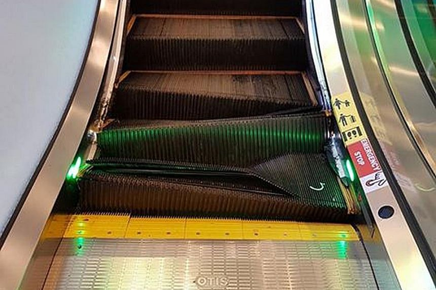 Mr Tran Huu Minh said his maid jumped off the escalator at The Centrepoint just before the steps buckled. She had a minor scratch on her leg.
