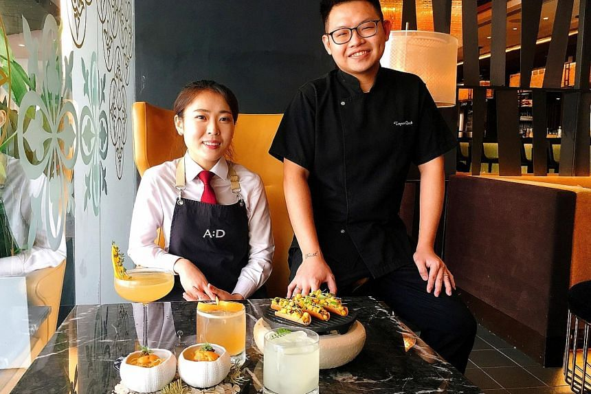 Head chef Tryson Quek and his wife, head bartender Bannie Kang, serve up cocktails and tapas featuring fresh regional produce at Fairmont Singapore's Anti:dote.