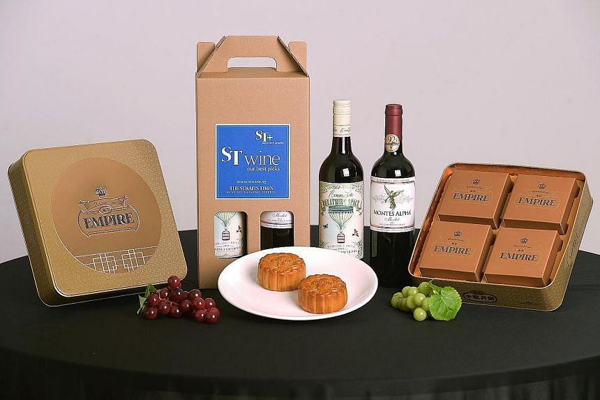 """Ultimate"" mooncakes by Empire Artisans are available for ordering as gift sets with curated fine wine, or without, at stwine.sg"