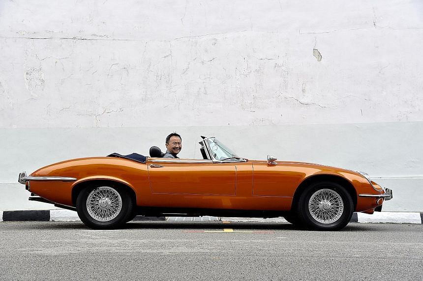 Mr Tong Kien Seng takes his E-Type for weekend breakfast outings.