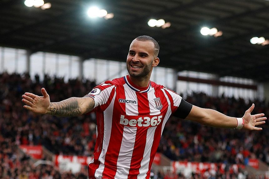 Stoke's Jese Rodriguez celebrating his winner against Arsenal. The on-loan PSG forward will hope to make the same impact against Manchester United.