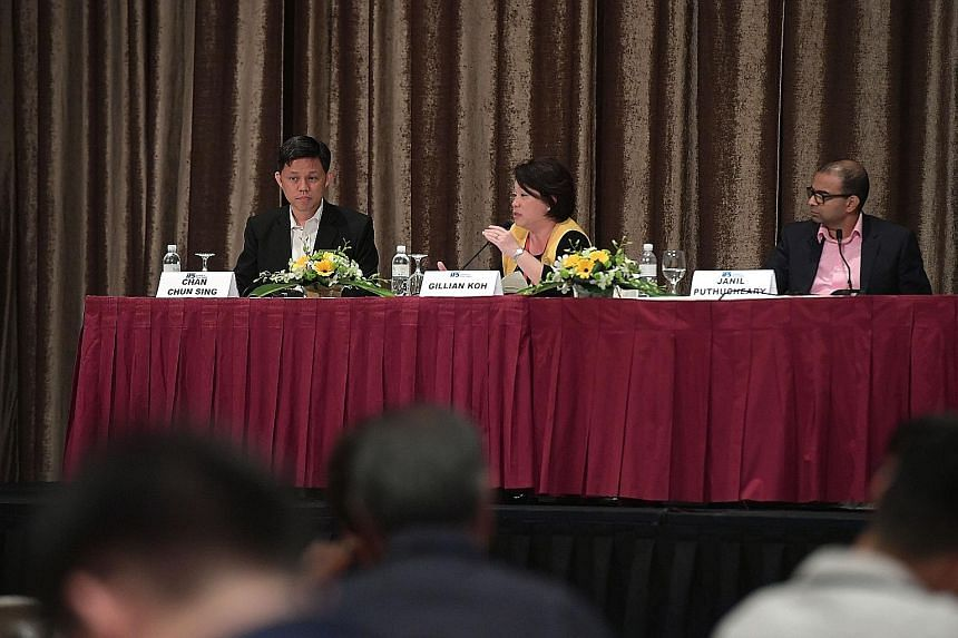 Minister in the Prime Minister's Office Chan Chun Sing (from left), forum moderator Gillian Koh and Senior Minister of State Janil Puthucheary at an Institute of Policy Studies forum on the reserved presidential election.